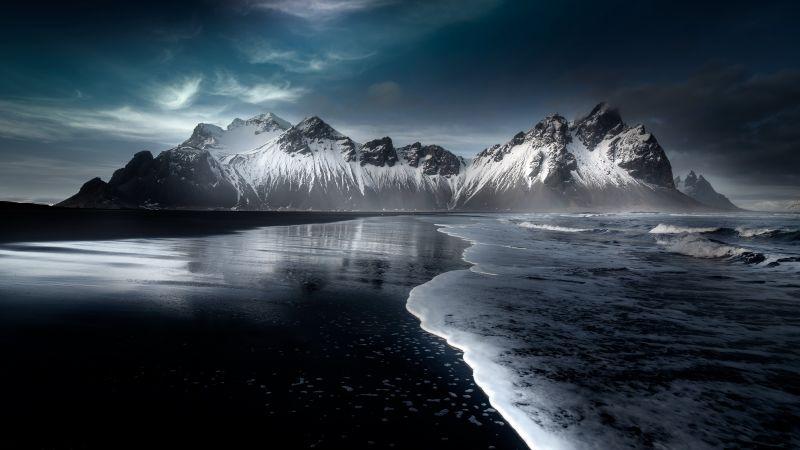 Vestrahorn mountain, Stokksnes, Beach, Icelandic coast, Snow covered, Evening, Dark, Cold, Mountains, Iceland, Wallpaper