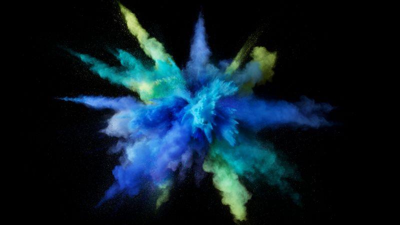 Color burst, Splash, Blue, Black background, macOS Sierra, Stock, 5K, Wallpaper