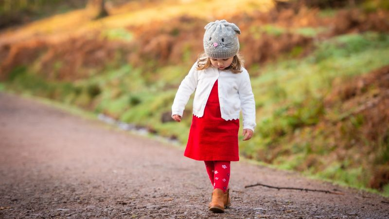 Cute Girl, Child, Adorable, Road, Red dress, Winter, Cold, Wallpaper
