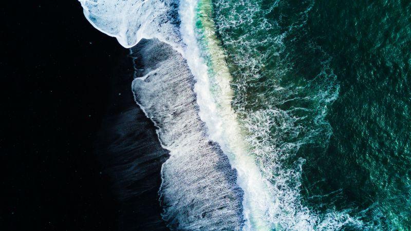 Reynisfjara Black Sand Beach, Waves, Aerial view, Ocean, Iceland, Wallpaper