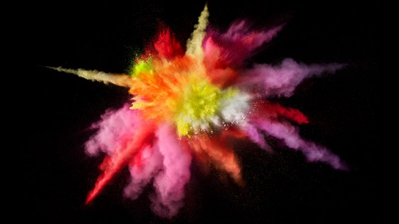 Color burst, Splash, Colorful, Black background, macOS Sierra, Stock, 5K, Wallpaper