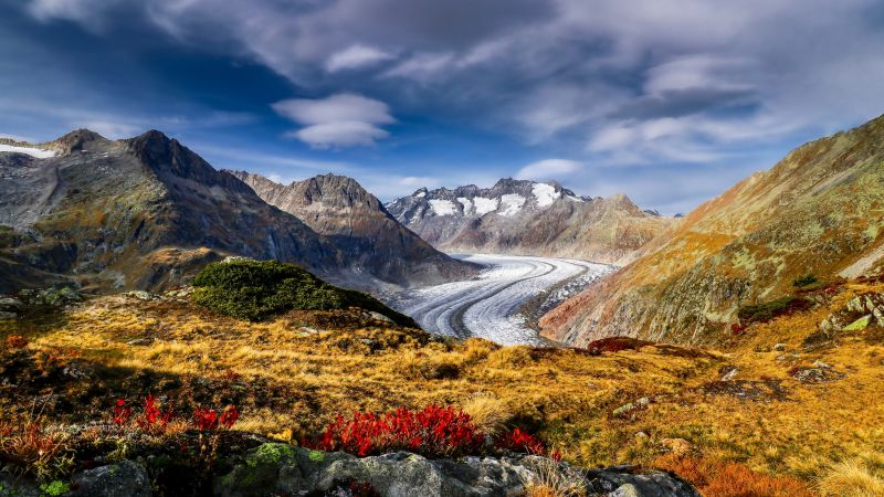 Aletsch Glacier, Alps mountains, Mountain pass, Landscape, Scenery, Summer, Switzerland, Wallpaper