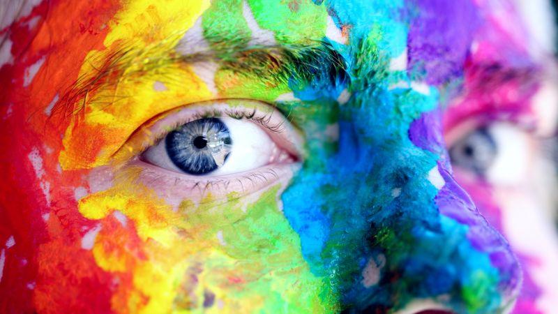 Face, Closeup, Paint, Colorful, Blue eyes, 5K, Wallpaper