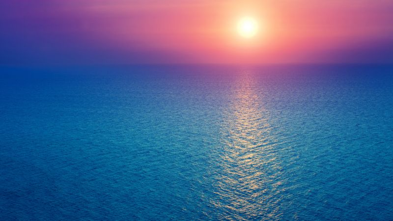 Sunrise, Seascape, Horizon, Ocean, Pink sky, Blue, Morning light, Aesthetic, Wallpaper