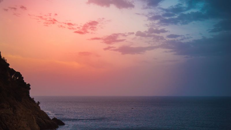 Sunset, Cliff, Seascape, Dawn, Moon, Seashore, Coastline, Red Sky, Wallpaper