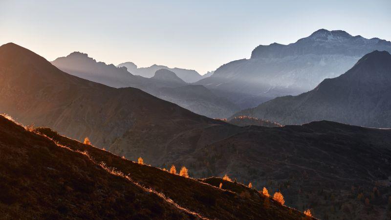 Giau Pass, Mountains, Dolomites, Mist, Foggy, Landscape, Italy, 5K, Wallpaper