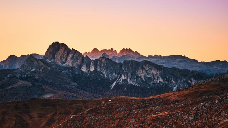 Giau Pass, Mountain range, Dolomites, Sunset, Landscape, Dawn, Italy, 5K, Wallpaper