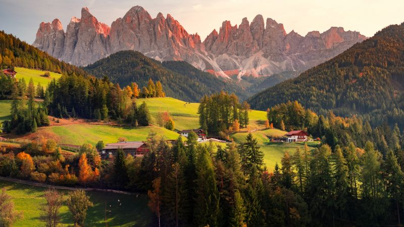 Valley of Funes, Mountains, Village, Countryside, Landscape, High mountains, Sunny day, Summer, Forest, Trees, Greenery, Italy, 5K, Wallpaper