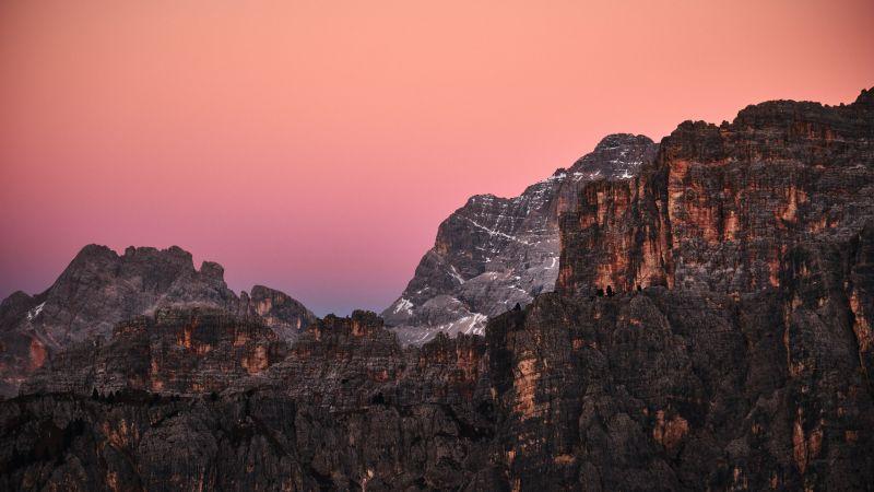 Giau Pass, Mountains, Dolomites, Sunset, Dusk, Golden hour, Italy, 5K, Wallpaper