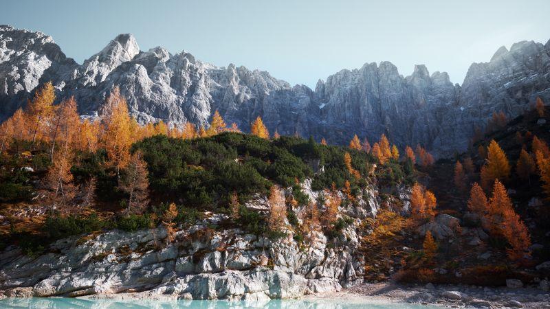 Sorapiss, Mountains, Dolomites, Rocks, Trees, Italy, 5K, Wallpaper