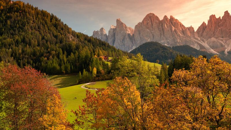 Valley of Funes, Mountains, Countryside, Landscape, High mountains, Summer, Forest, Trees, Greenery, Italy, 5K, Wallpaper