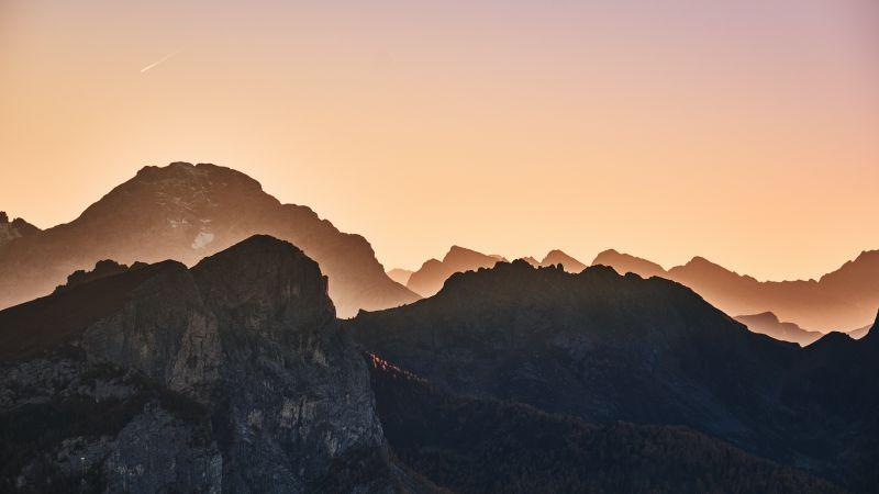 Giau Pass, Mountain range, Dolomites, Sunrise, Landscape, Italy, 5K, Wallpaper