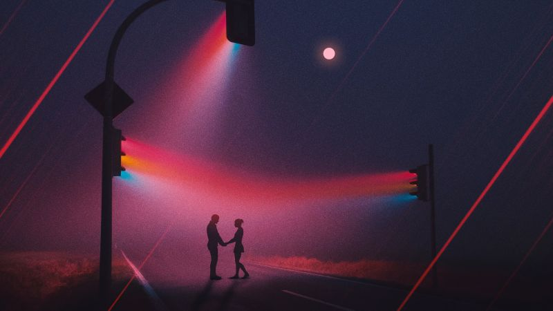 Couple, Silhouette, Traffic lights, Night, Romantic, Focus, Spectrum, Moon, Road, Wallpaper