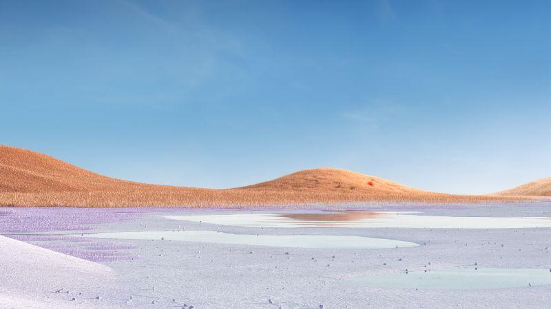 Landscape, Grass field, Glacial lake, Clear sky, Microsoft Surface Pro X, Stock, Wallpaper