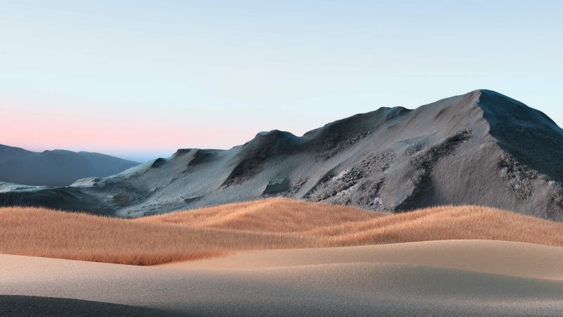 Hills, Landscape, Grass field, Clear sky, Microsoft Surface Book 3, Stock, Wallpaper