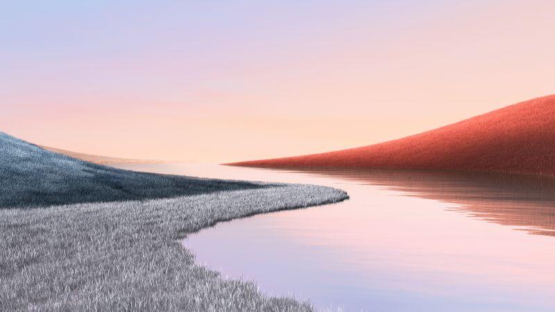 Landscape, Grass field, Lake, Clear sky, Microsoft Surface, Stock, Aesthetic, Wallpaper