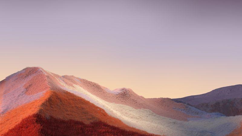 Landscape, Grass field, Hills, Clear sky, Microsoft Surface, Stock, Wallpaper