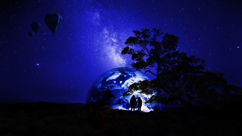 Couple, Dream, Earth, Night, Silhouette, Together, Romantic, Starry sky, Hot air balloons, 5K, 8K, Wallpaper