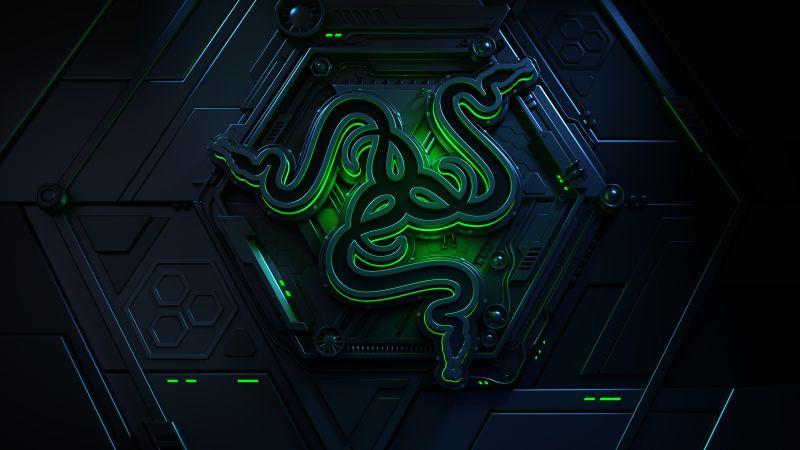Vault, Razer, Green, Dark, Sci-Fi, 3D, Neon, Wallpaper