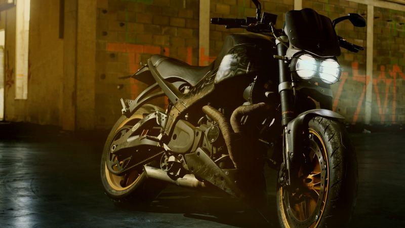 Motorcycle, Cafe racer, Devil, 5K, Wallpaper