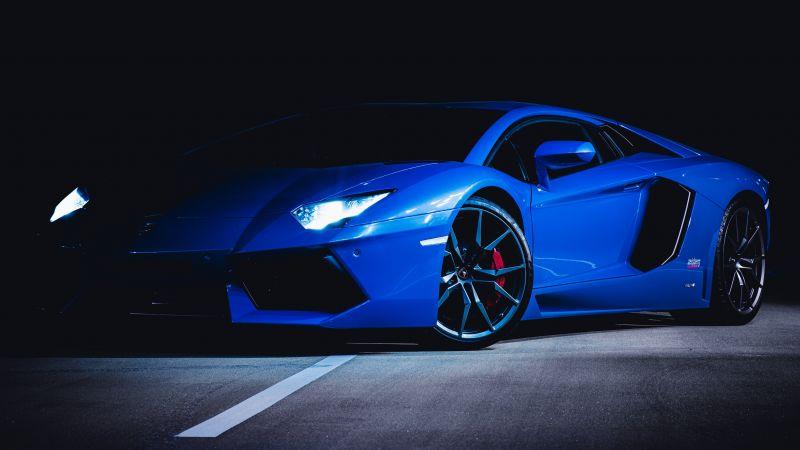 Lamborghini Huracan, Blue, Dark, Wallpaper