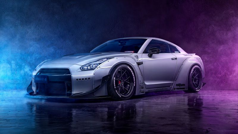 Nissan GT-R, Neon, Digital Art, Wallpaper