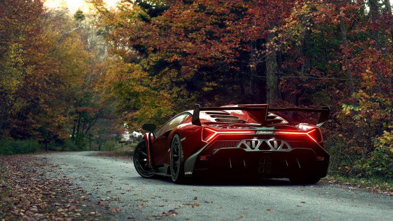 Lamborghini Veneno Roadster, Digital Art, Autumn, Wallpaper