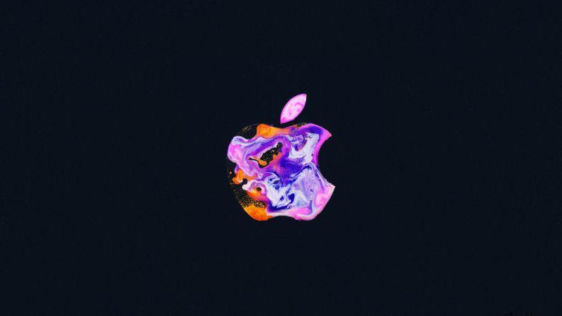 Apple logo, iPhone 12, Liquid art, Black background, Wallpaper