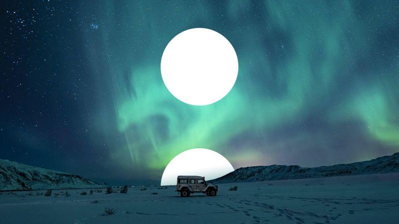 Moon, Northern Lights, Aurora sky, Polar Regions, Russia, Wallpaper