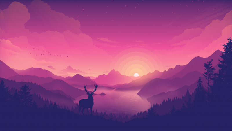 Scenery, Pink, Lakeside, Sunset, Lake, Landscape, Scenic, Panorama, Pink background, Aesthetic, 5K, 8K, Wallpaper