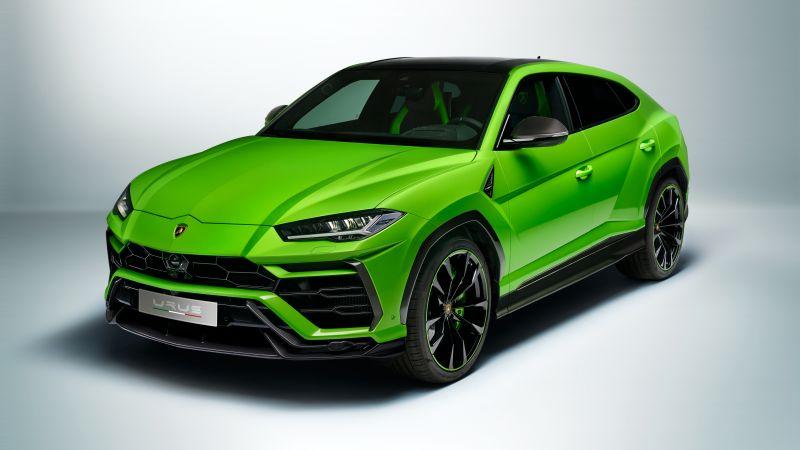 Lamborghini Urus Pearl Capsule, Green, White background, 2020, Wallpaper
