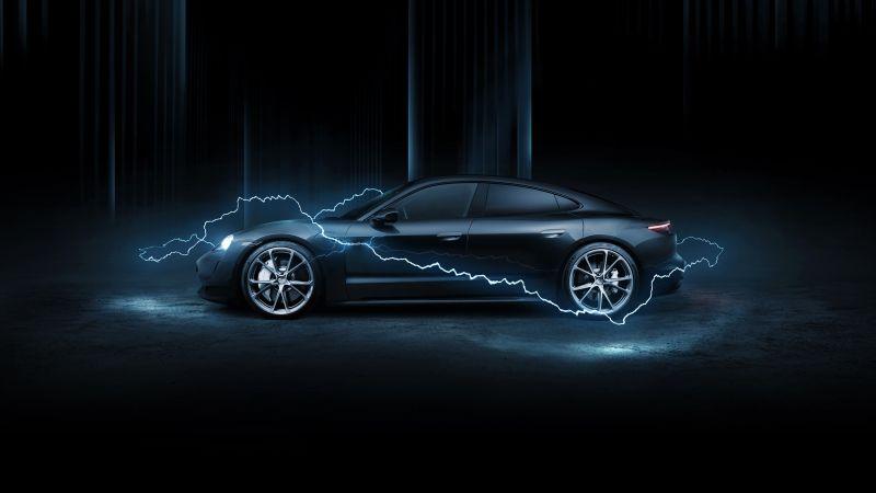 Porsche Taycan Turbo, TechArt, 2020, Dark background, AMOLED, Wallpaper