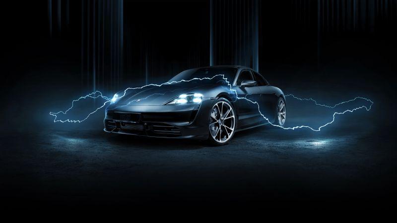 Porsche Taycan Turbo, TechArt, 2020, Dark background, Wallpaper