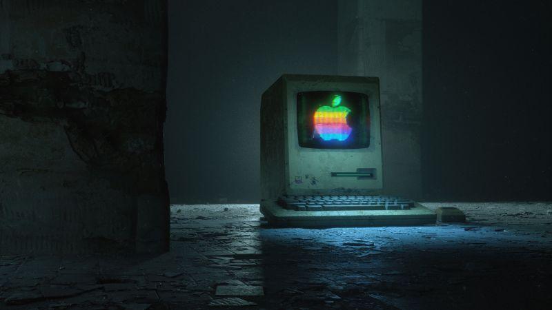 Apple computer, Apple logo, Retro, Dark, Wallpaper