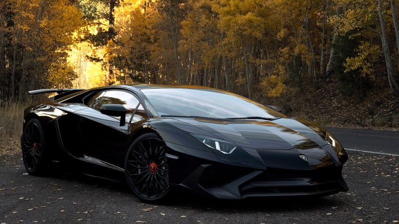 Lamborghini Aventador SV, Black, Darth Vader, Wallpaper