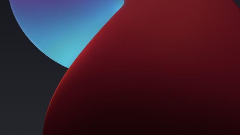iPadOS, Red, Dark, Abstract, Wallpaper