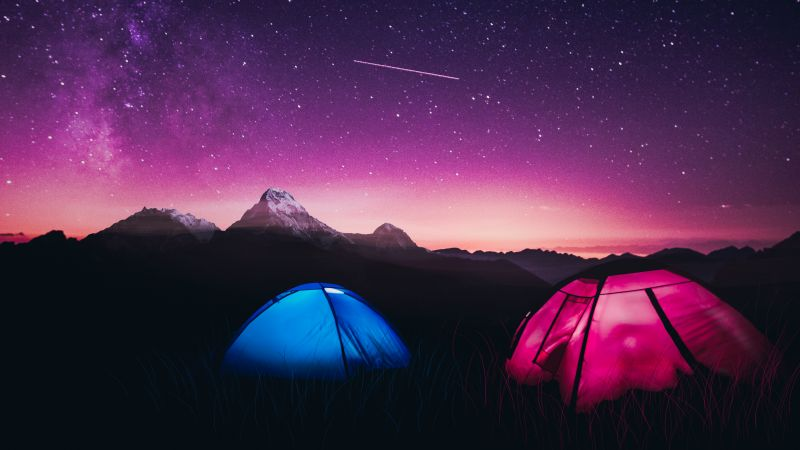 Mountains, Night, Purple sky, Dome tents, Tourists, Starry sky