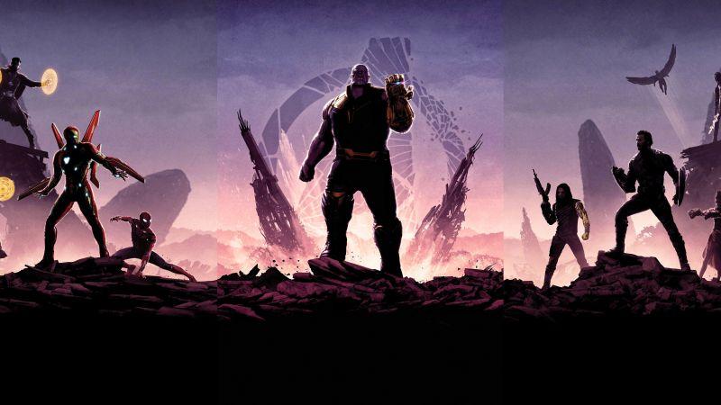 Avengers: Endgame, Avengers: Infinity War, Thanos, Marvel Superheroes, Dark, 5K, 8K, Wallpaper