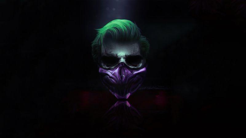 Joker, Mask, Cyberpunk, Dark background, Wallpaper