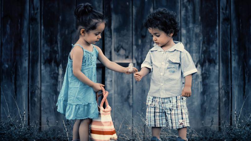 Cute Girl, Cute boy, Cute children, Playing kids, Toddlers, Siblings, Adorable, 5K, Wallpaper