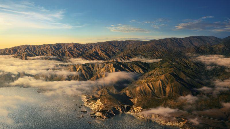 Big Sur, Mountains, Clouds, Daylight, Sunny day, macOS Big Sur, Stock, California, 5K, Wallpaper