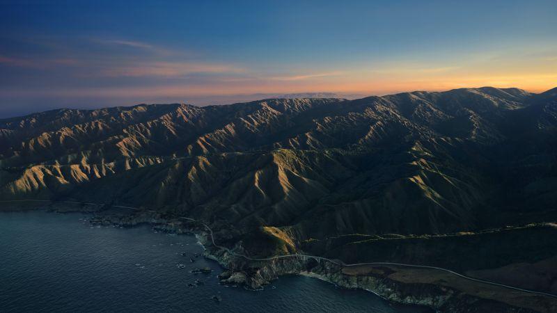 Big Sur, Mountains, Clear sky, Sunrise, Dawn, Morning, macOS Big Sur, Stock, California, 5K, Wallpaper
