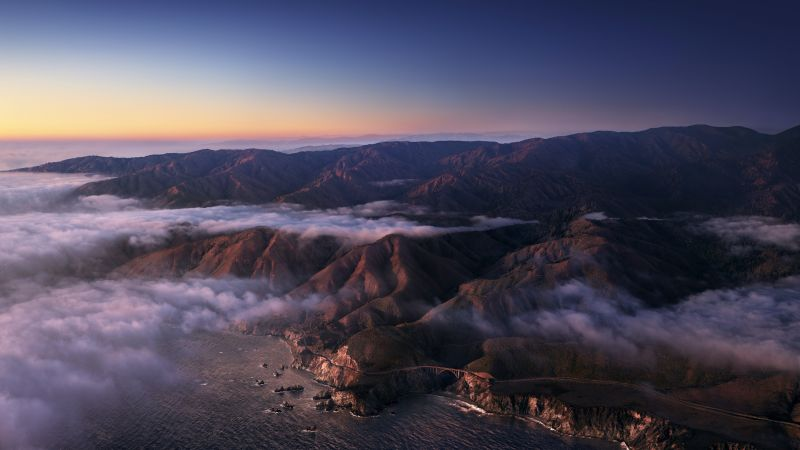 Big Sur, Mountains, Clouds, Sunrise, Morning, macOS Big Sur, Daylight, Stock, California, 5K, Wallpaper