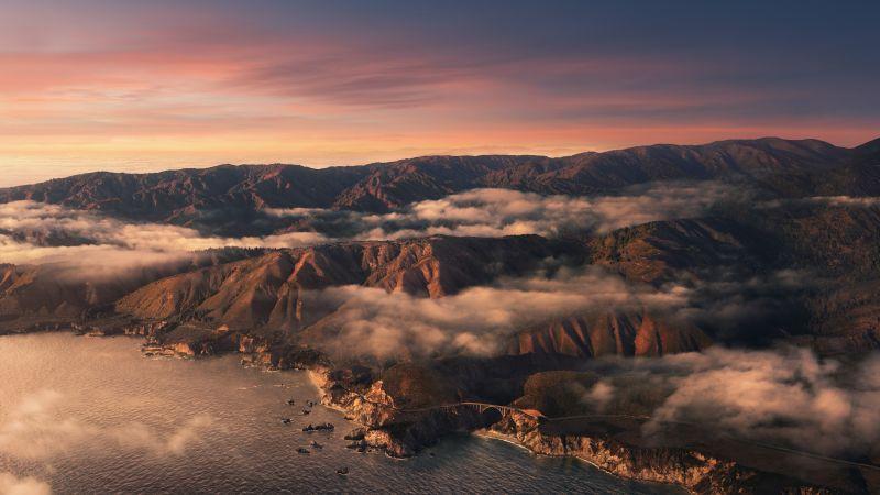 Big Sur, Mountains, Clouds, Sunset, Evening, macOS Big Sur, Stock, California, Aesthetic, 5K, Wallpaper