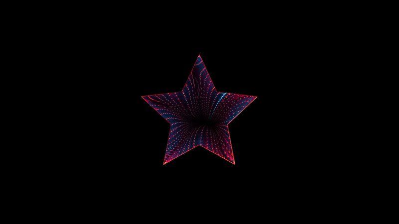 Star, Neon, Black background, 5K, 8K, AMOLED, Wallpaper