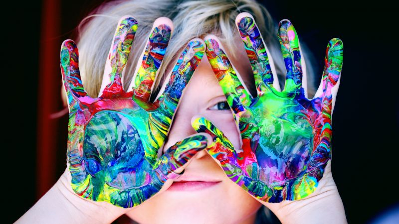 Cute Girl, Adorable, Cute child, Colorful, Paint, Cute hands, 5K, Wallpaper