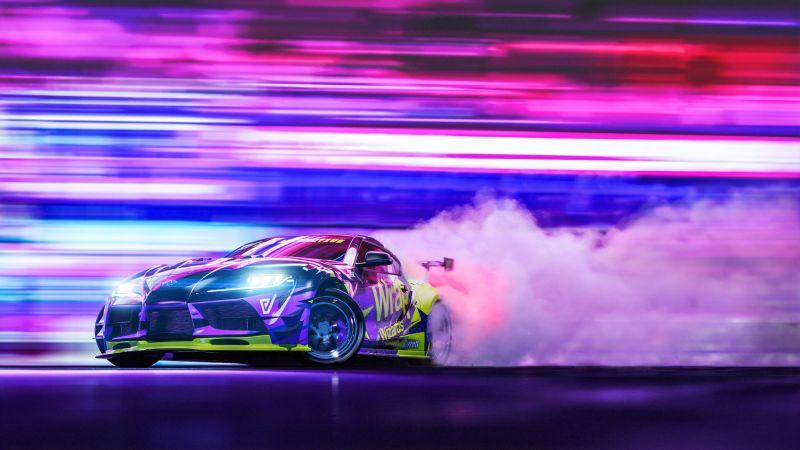 Toyota Supra, Drift, Colorful, Wallpaper