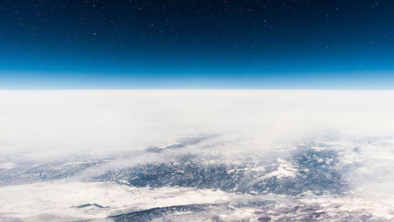 Earth, Horizon, Above clouds, Starry sky, Blue Sky, Polar Regions, Wallpaper