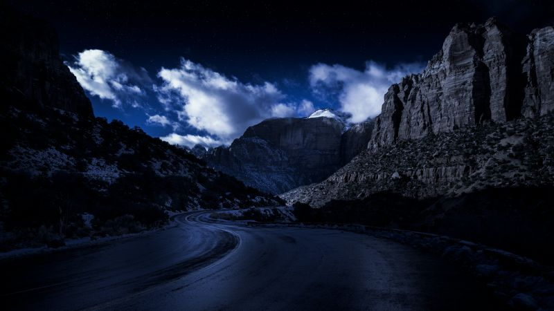 Zion National Park, Road, Night, Rocks, Dark, 5K, 8K, Wallpaper