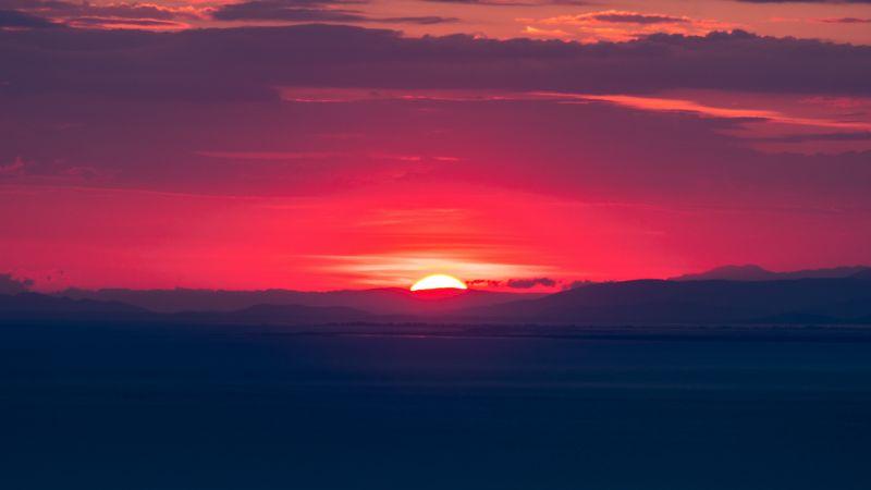 Sunset, Hills, Red Sky, Horizon, Dawn, 5K, Wallpaper